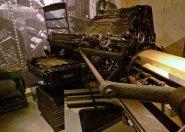 Printing press in the Resistance Museum Amsterdam.