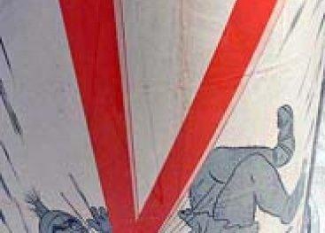 Propagandaposter van de Duitsers met gebruik van de V