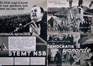Poster van de NSB met democratie is wanorde