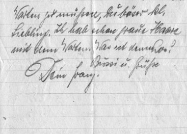Een briefje van Franz Jozef Gebele aan Sabine Zuur